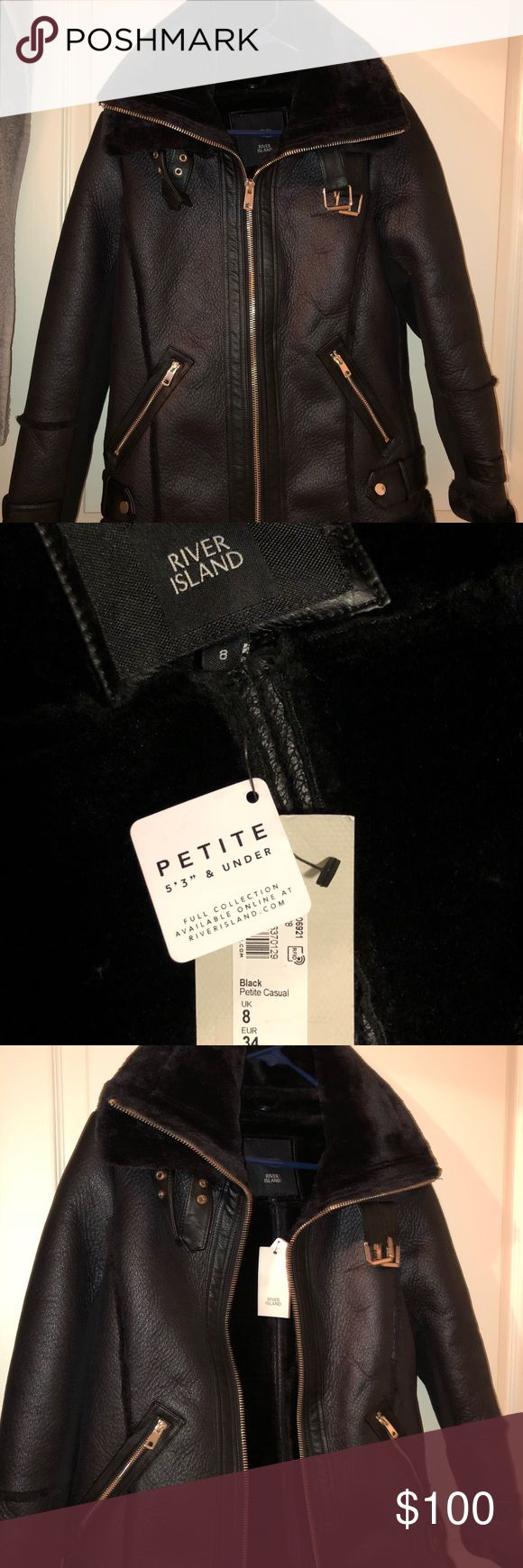 River island moto jacket Black, long, double collar