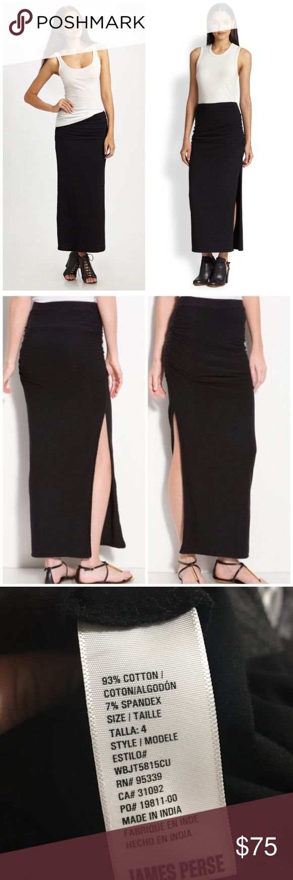 James Perse Ruched Split-side Jersey Maxi Skirt Excellent condition. High side slit. 93% cotton, 7% spandex. Size 4 - which is a 12. Very stretchy skirt. Offers welcome through offer tab. No trades. 10314171501 James Perse Skirts Maxi