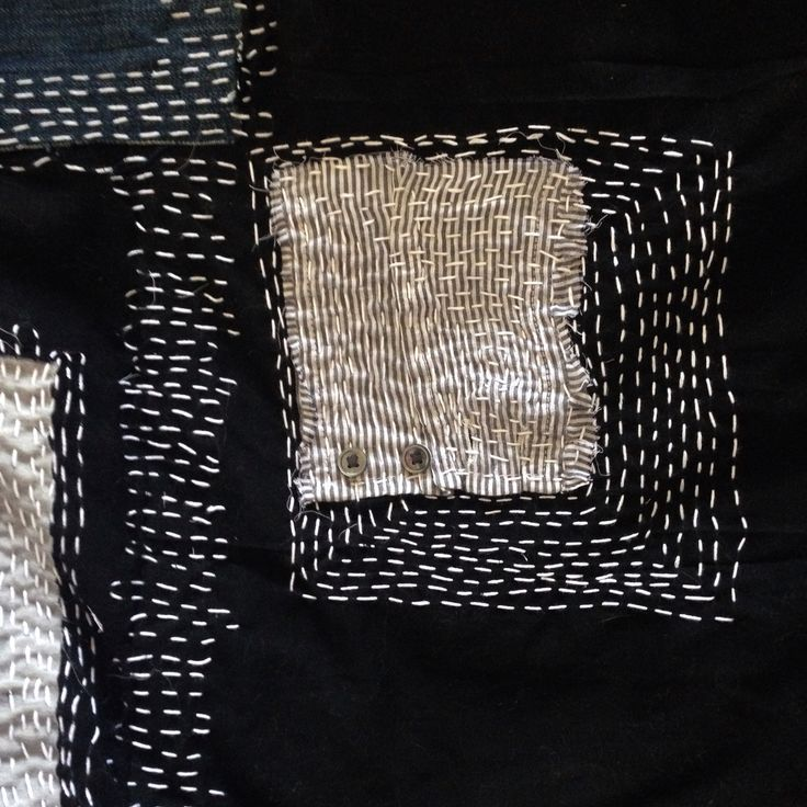 Monochrome embroidery with linear stitching detail; sewing; textiles design