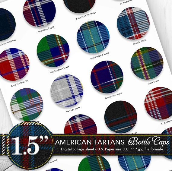 Bottle caps 1.5  clipart/American tartans by CornucopiaArtDesign