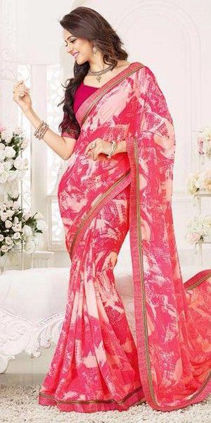Gracious Pink And Multi-Color Printed Silk Saree.