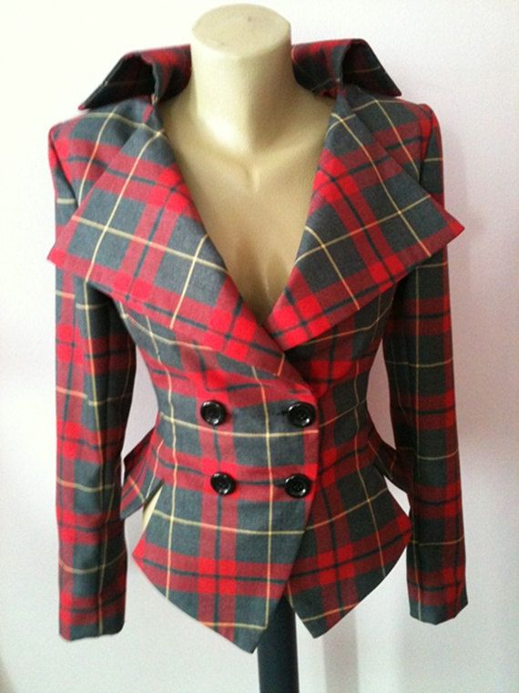 Tartan tailored jacket/vintage plaid jacket// lady by StudioMariya via @sallymcgraw