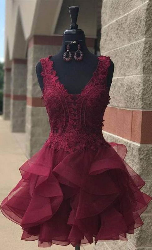 Organza Homecoming Dress,Lace Homecoming Dresses,Short Party Dresses,Lace Homecoming Dresses,V Neck Prom Dresses,Burgundy Homecoming Dresses