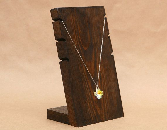 Wooden Necklace Display Board / Necklace Holder / by USAVECO, $13.50 OR MAKE SIMILAR TO THIS WITH NOTCHES IN TOP FOR PENDANT NECKLACES