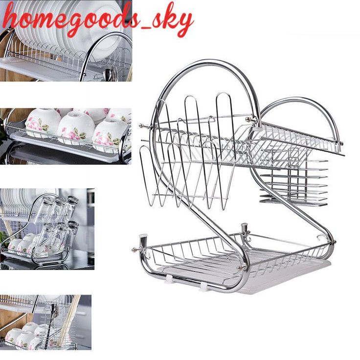2Tier Dish Drying Rack White Metal Abs Detachable Hooks Tray Cutlery