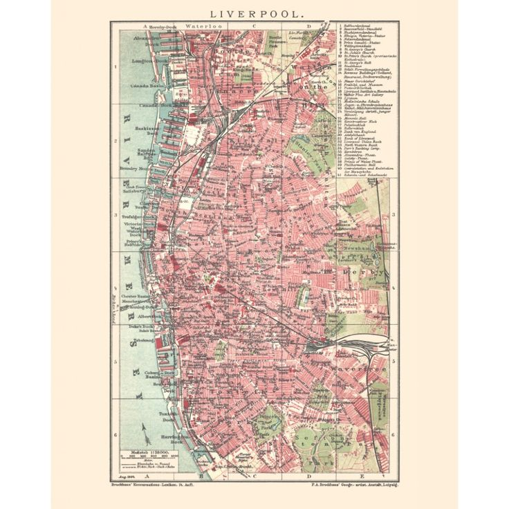 Liverpool vintage map reproduction. Handmade paper print. Elegent antique map art.
