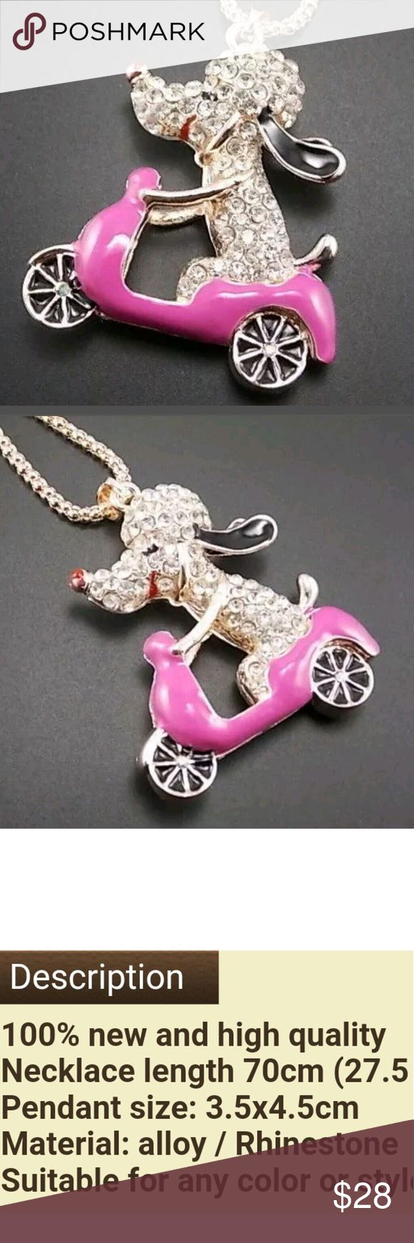 New Betsey Johnson poidle dog riding a purple car New Betsey Johnson poodle dog riding a scooter or motorcycle. the car scooter or motorcycle is purple with a slight of pink tone. Cute and so pretty this becklace looks so real like .poodle dog eara are black and red nose and mouth surrounded by cristals and black cristals on eyes hes adorable See last pic  Colors avail purple car or scooter  And also a orange scooter same dog  Let me know which you prefer or I can create a new listing Betsey…