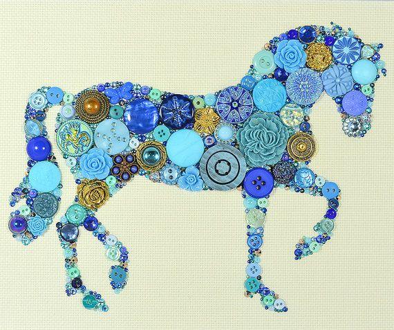 MADE TO ORDER Button Art - Button Horse - Custom Order, Button Artwork, Home Decor, Wall Hanging, Horse Art, Horse Decor, Wall Decor, 8x10