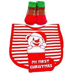 Babies First Christmas Bib & Socks Red & White Infant 0-6 Months