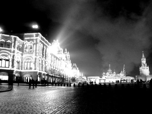 Light show from the GUM Department Store at the Red Square, Moscow