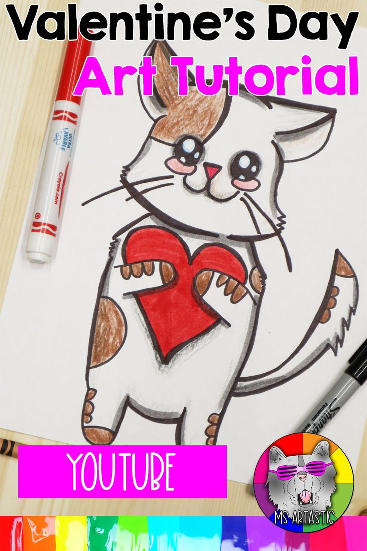 valentine draw kawaii kitty easy projects elementary quick valentines drawing teacher youtu middle