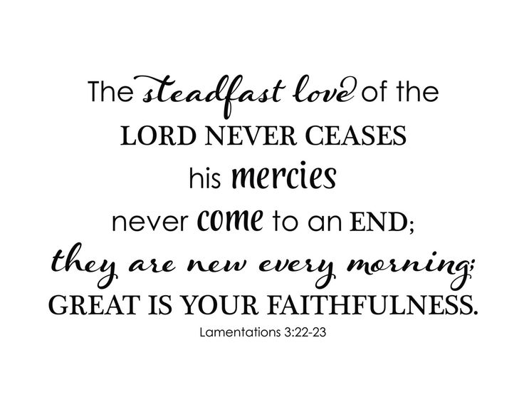 Lamentations 3:22-23 The steadfast love of the Lord never ceases his mercies never come to an end they are new every morning Vinyl Wall Art by WildEyesSigns on Etsy