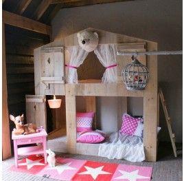 Kinderkamer Vogelhuis NIEUW! | Steigerhouten Stapelbed | Zomerzoen.nl - Great bunk beds for kids!