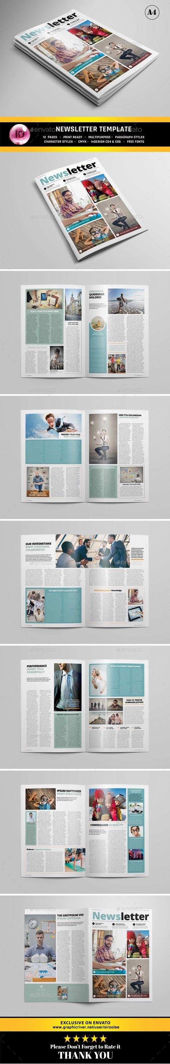 Multipurpose Newsletter Design Template - Newsletters Print Templates InDesign INDD. Download here: https://graphicriver.net/item/multipurpose-newsletter/16991901?s_rank=179&ref=yinkira