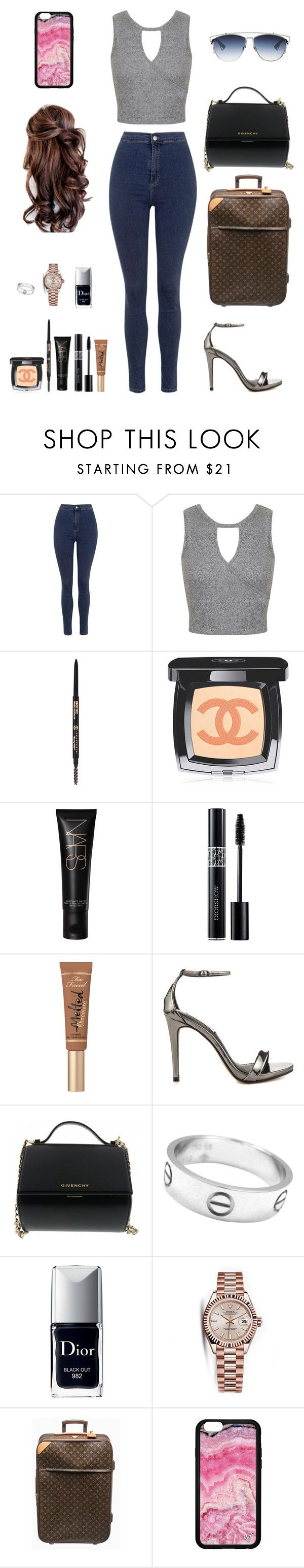 """""""Monday ootd// Mexico trip day 4"""" by foxyfries ❤ liked on Polyvore featuring Topshop, Miss Selfridge, Chanel, Christian Dior, Too Faced Cosmetics, Steve Madden, Givenchy, Cartier, Rolex and Louis Vuitton"""