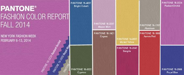 pantone fall color 2014 trends / radiant orchid / cypress / cognac / bright cobalt / mauve / sangria / yellow / aurora red / aluminum / royal blue / wedding colors and combinations