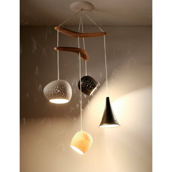 Ceiling lighting: Clay-light Boomerang - Four Pendant Chandelier - On Sale on Etsy, $650.00