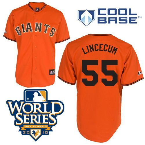 2014 world series patch giants tim lincecum orange 2010 world series patch embroidered youth mlb jersey san francisco giants 55 tim lincecum cream wit