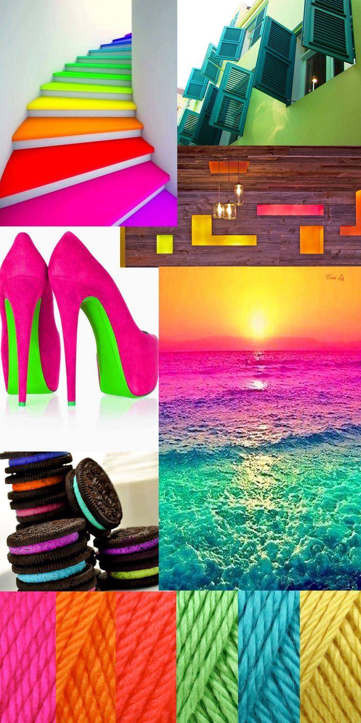 Neon Inspiration Board. Using this to illustrate how well neon colors can work together.