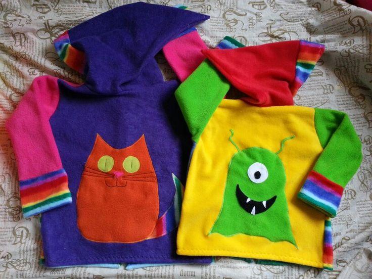 Fun rainbow hoodies by snuggleblanks