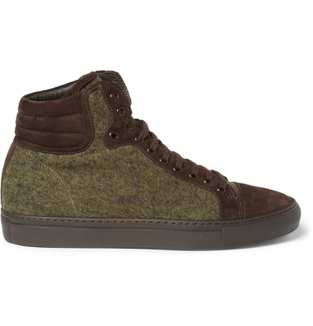 Armando Cabral Suede-Trimmed Wool High Top Sneakers | MR PORTER