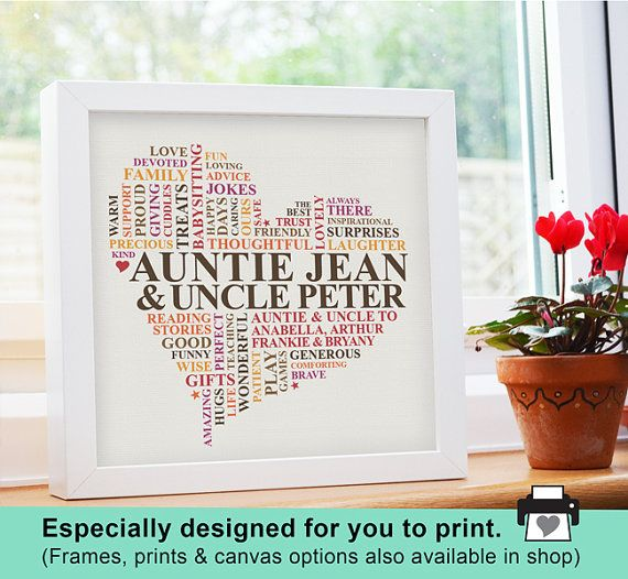 Christmas Gifts For Nephew And Niece: Printable File Personalised Aunt And Uncle Word By