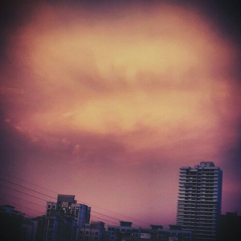 Colorful clouds... #colorful #clouds #beautiful #sky #buildings