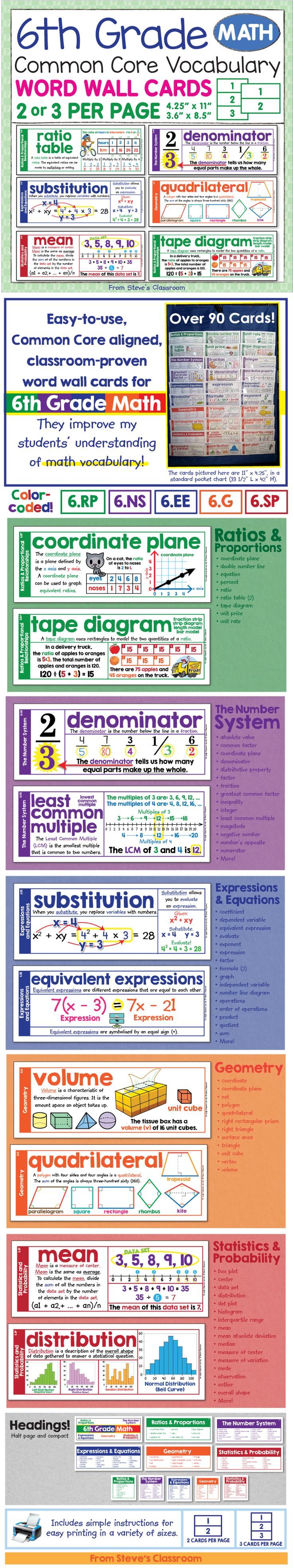 New Product in my store! 50% off for two days! Get the whole set of 90 cards for just $2. Sale ends Sunday.   6th Grade Math Vocabulary Word Wall Cards - Common Core Aligned.