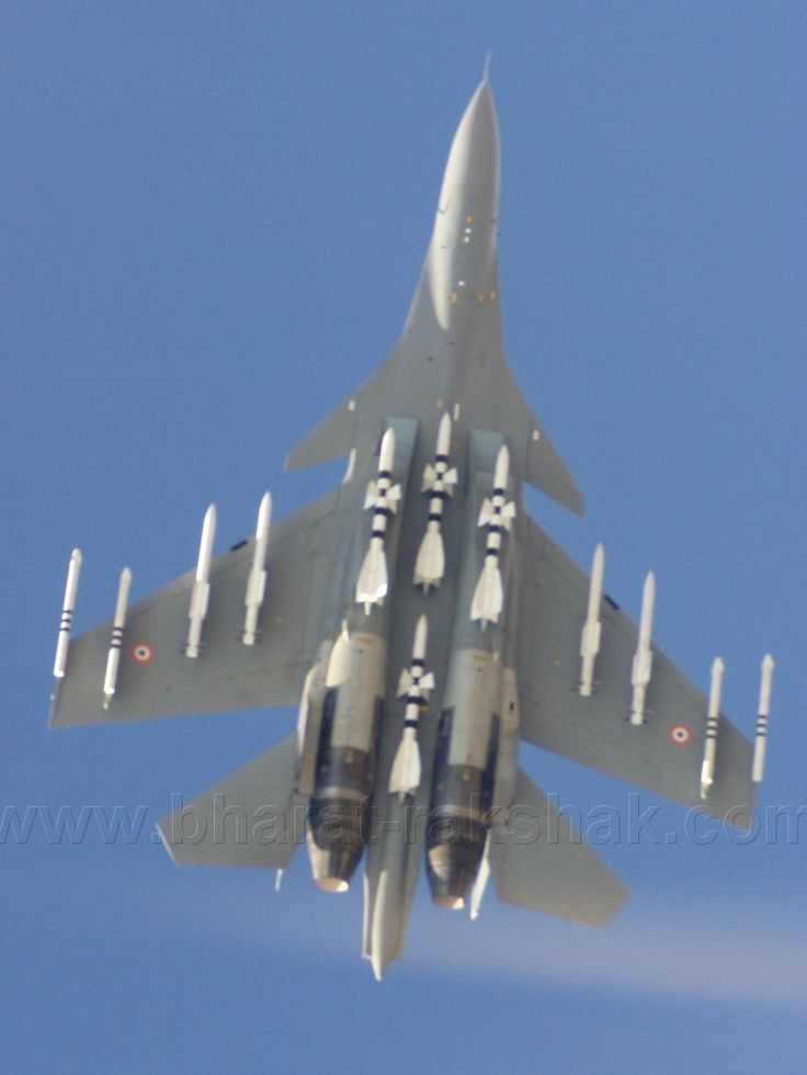 """INDIAN AIR FORCE Sukhoi Su-30MKI """"Flanker C"""" loaded for business."""