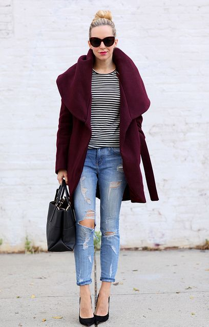 Coat: Tahari (40% off now!) | Jeans: Current/Elliott (50% off now!) Shoes: Jimmy Choo Anouk | Tee: LA'T by L'Agence | Handbag: Coach Borough Bag
