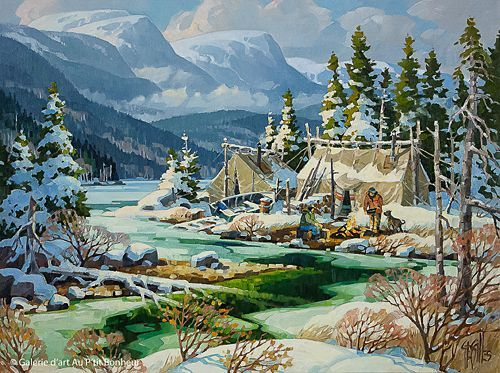 St-Gilles, 'Campement Montagnais', 30'' x 40'' | Galerie d'art - Au P'tit Bonheur - Art Gallery