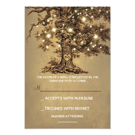 Twinkle Lights Tree Rustic Wedding RSVP card - tap to personalize and get yours