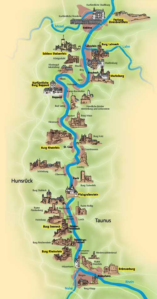 Mittelrhein-Burgenticket Karte