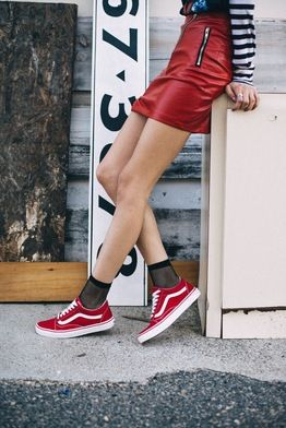 All Red Vans On Feet
