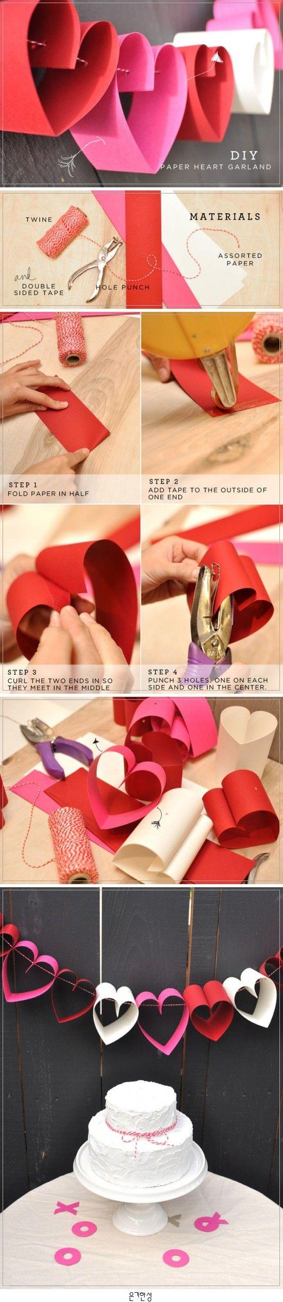Paper Heart Garland 하트 색종이 플랜카드