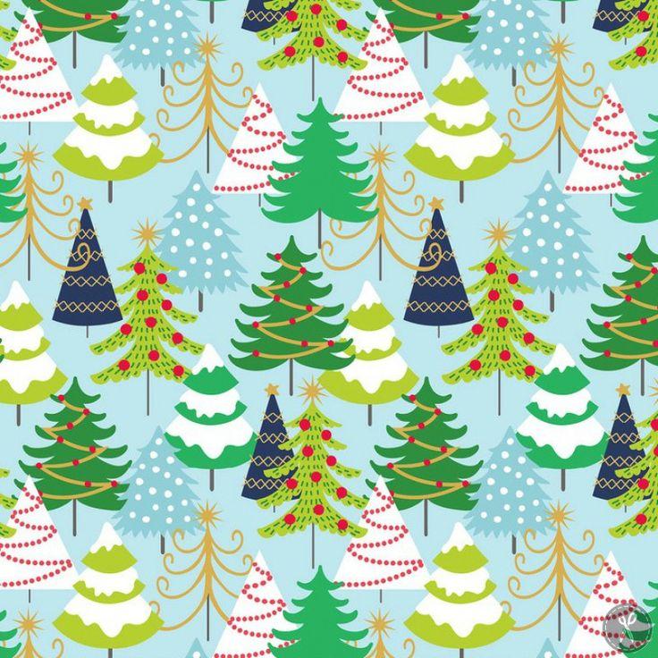 Snowflake Waltz Grand Firs Fabric - Blue