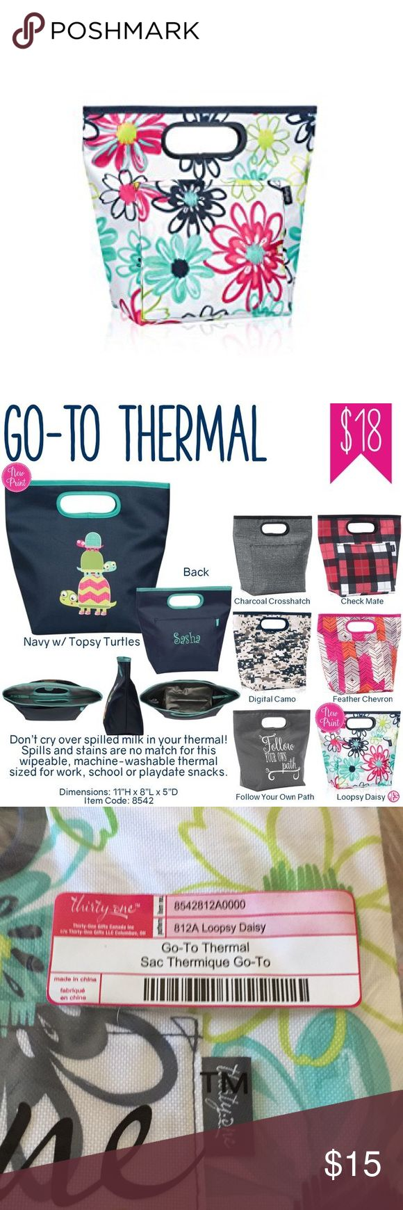 "Thirty-One Go To Thermal, Loopsy Daisy, New We don't call it the Go-To Thermal for nothing! When you think of the universal lunch bag, this is it. With clean lines a simple handle and a variety of prints, this tote is perfect for every member of the family. Features a zip closure and an exterior pocket. Machine washable and wipeable lining. Key features: Polyester Zipper closure Exterior flat pocket Keeps contents cool or warm for up to 1.25 hours Holds up to 10 lbs 11""H x 12.5""L at top…"