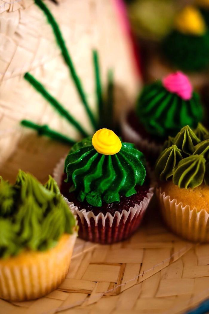 Cactus cupcake from a Cactus & Flamingo First Birthday Fiesta on Kara's Party Ideas | KarasPartyIdeas.com (22)