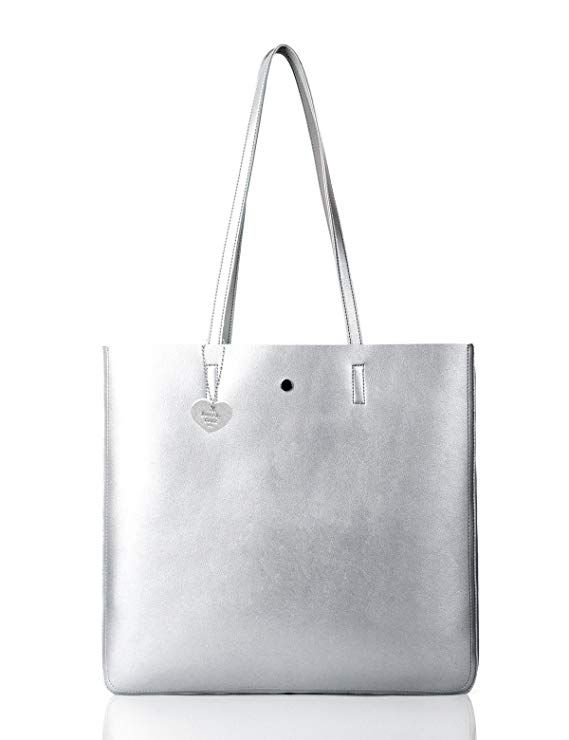 The Lovely Tote Co Women S Metallic Top Handle Shoulder Bag Silver