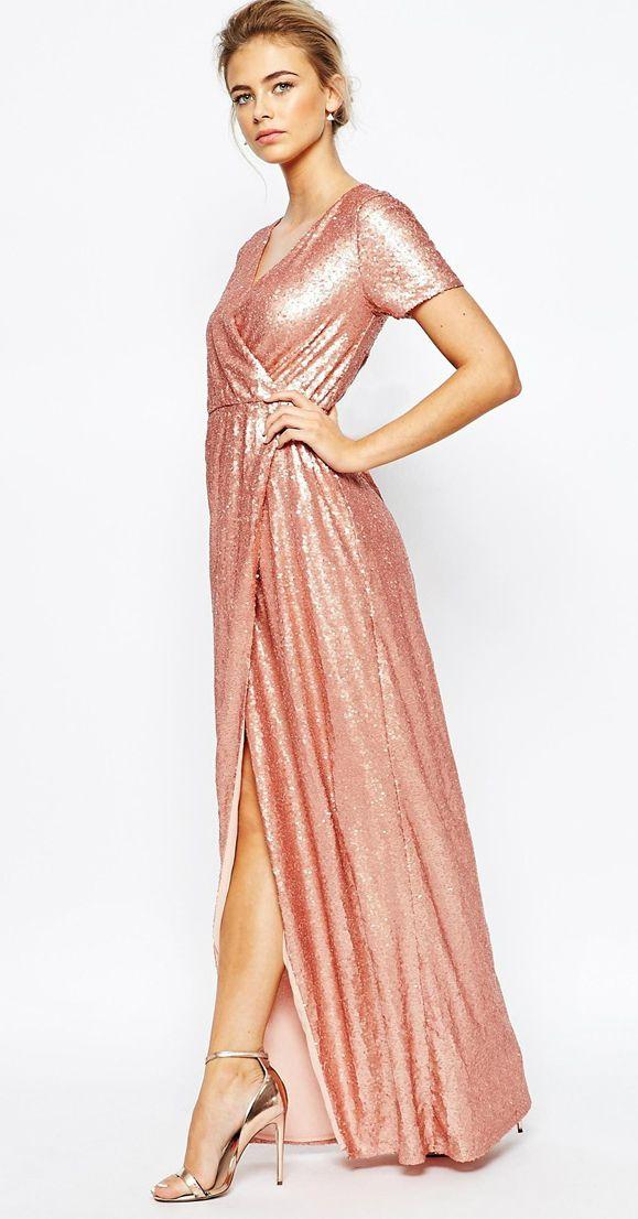 Rose gold sequin bridesmaid dress | ASOS