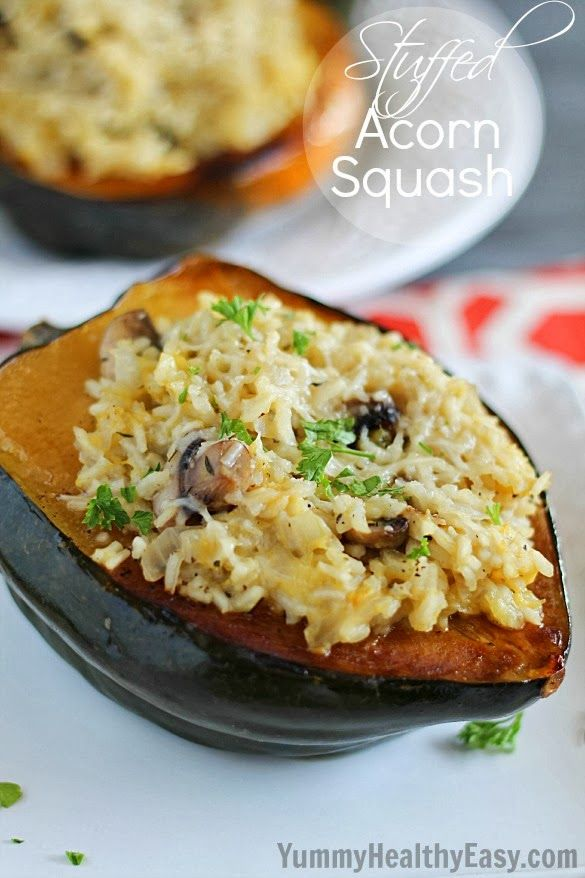 Stuffed Acorn Squash | baked squash are filled with a delicious rice and mushroom mixture and then baked again. This side dish is hearty and flavorful. It's also a great vegetarian main dish option!