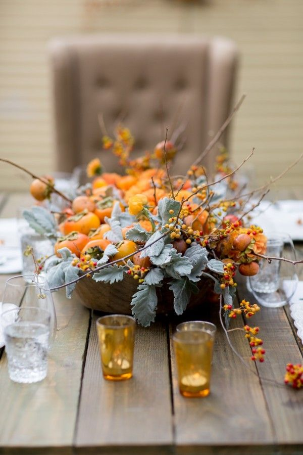 A Pretty Persimmon Fall Centerpiece Falling Into Autumn Pinterest Centerpieces Wedding And Thanksgiving