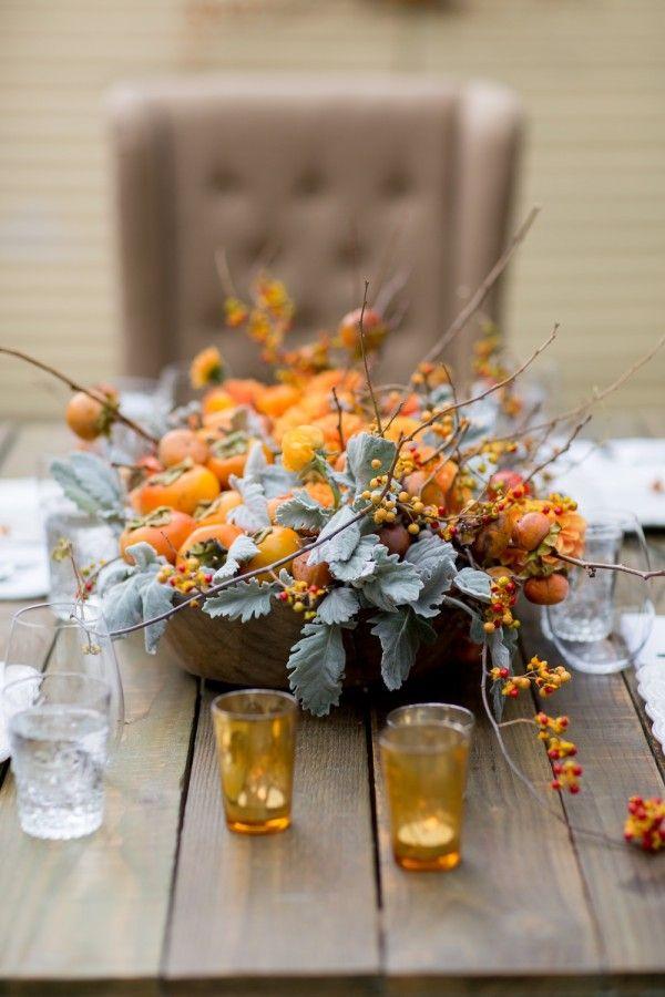 A very pretty persimmon Fall centerpiece.