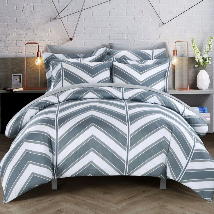 Dallas Chevron Printed Reversible Duvet Cover Set by Chic Home Gray - DS1516-HE