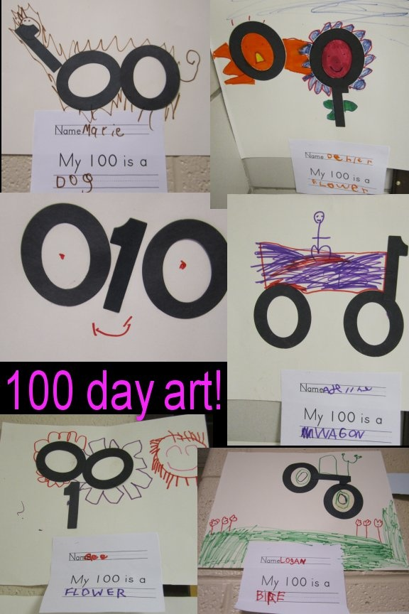 Cute art idea for the 100th day of school!  Children create a picture using cut outs of the number 100!