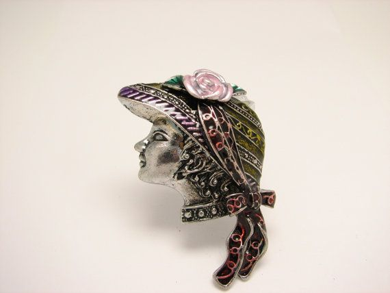 $22 Vintage Silver Woman Face Brooch https://www.etsy.com/listing/237210751/woman-with-hat-brooch-silver-pin-vintage