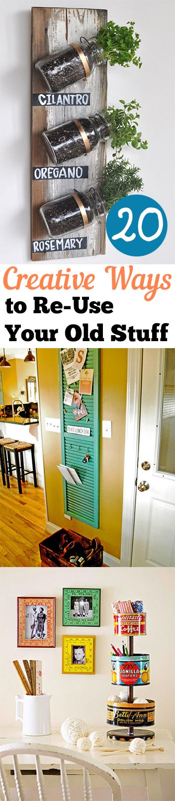 20 Creative Ways to Re-Use Your Old Stuff http://calgary.isgreen.ca/category/food-and-drink/smoothies/
