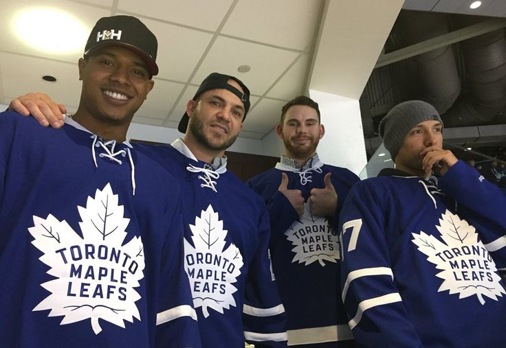 Marcus Stroman,Steve Pearce, Joe Biagini & Ryan Goins cheer on the Toronto Maple Leafs during their 2017 Winter Tour
