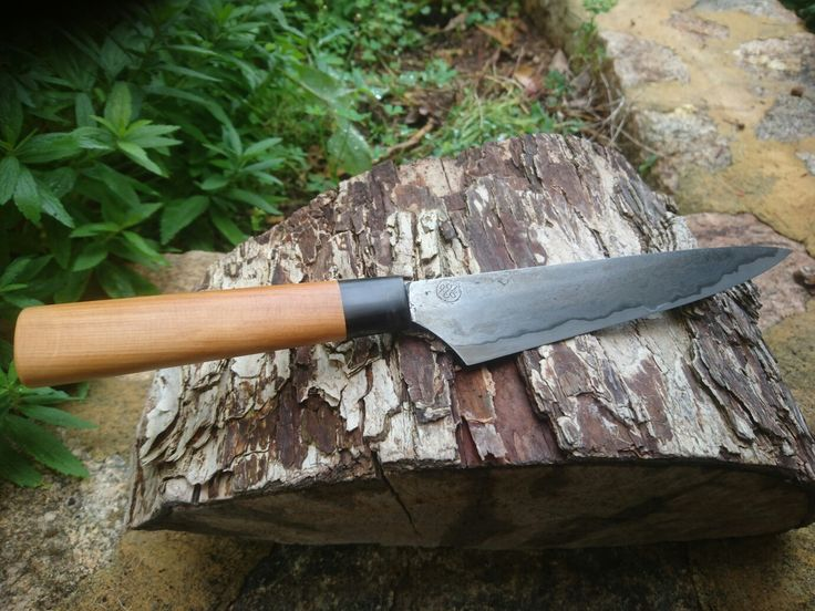 Hand forged Japanese Petty knife with wrought iron and 1085 cutting core