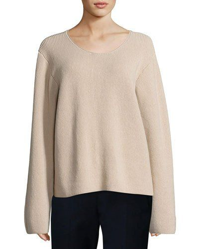 THE ROW GRISA RIBBED SCOOP-NECK SWEATER, FLESH. #therow #cloth #